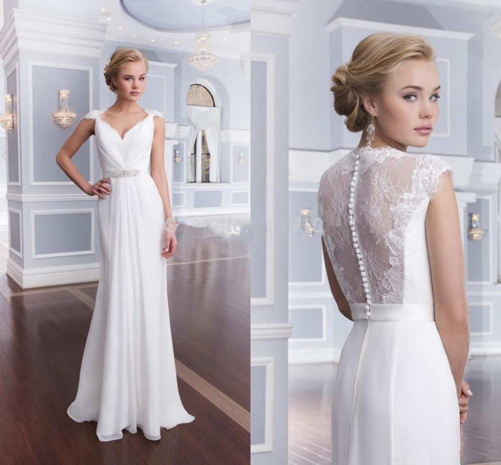 Beach 2016 Wedding Dresses A-line Cap Sleeves Chiffon Lace Beaded Vintage Wedding Gown Bridal Dress Bridal Gown Vestido De Noiva(China (Mainland))