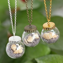 2016 Fashion Glass Bottle Necklace Shells Starfish Pendant Charming Jewelry Hand Made DIY Women Necklace As Gifts(China (Mainland))