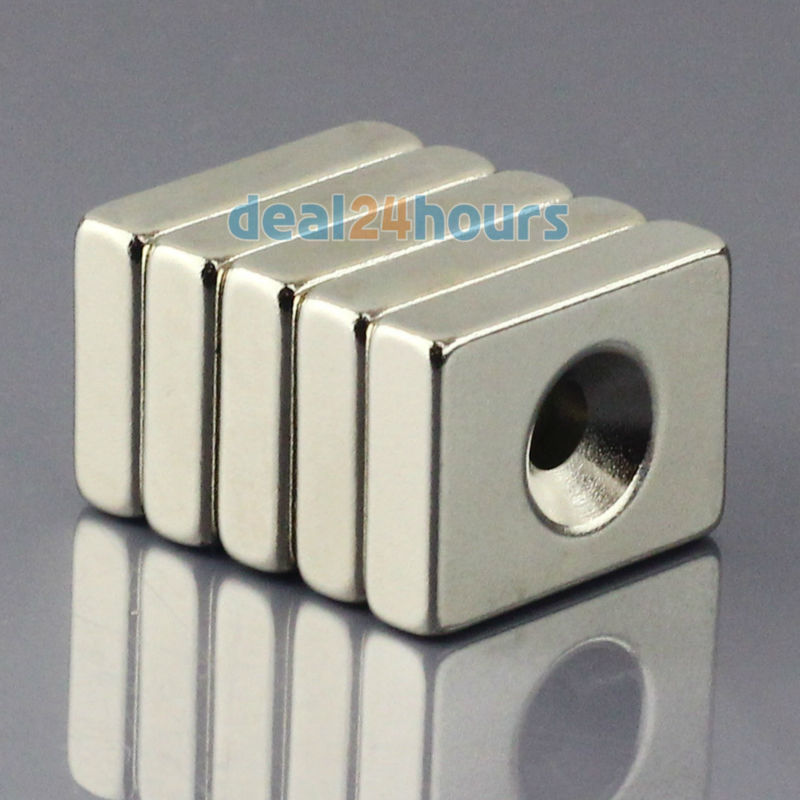 5pcs Super Strong Block Cuboid Neodymium Magnets 20 x 15 x 5mm Countersunk Hole 4mm Rare Earth N50 Free Shipping!<br><br>Aliexpress