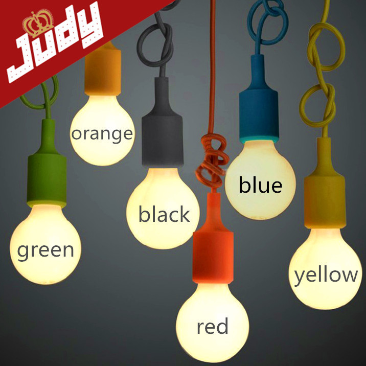 E27 colorful silicone lamp holder 110-220v pendant light 9 color DIY pendant lights +100cm cord+ceiling base Pendant lamp(China (Mainland))