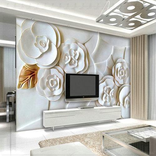 Gepr gte white rose blume wandbilder 3d vliestapete for 3d tapeten schlafzimmer