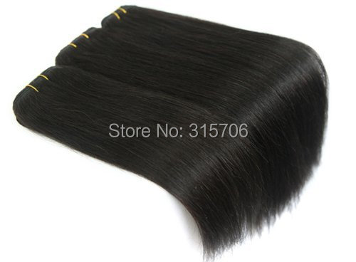 20 inch Remy Weft Hair Extensions silky straight 100g/set #1B natural black - Fashion Girl's store