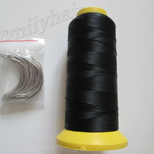 Free shipping 50pcs 6.5cm length C type weaving needles Curved needles and 1 roll Spools of Nylon weaving thread  for hair weft(China (Mainland))