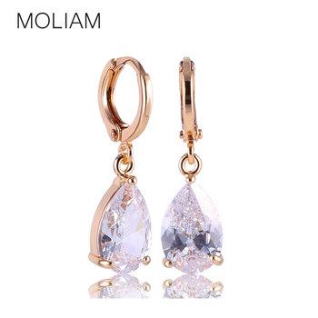 MOLIAM New Arrival Fashion Drop Earrings Hot Sale 18K Gold Plated Earings AAA Cubic Zircon Lovely Dangle Earring for Women E010
