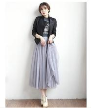 3 Layers Tulle Skirt Summer Style High Waisted Midi Skirts Womens Tutu Maxi Pleated Skirt Faldas Saias Plus Size