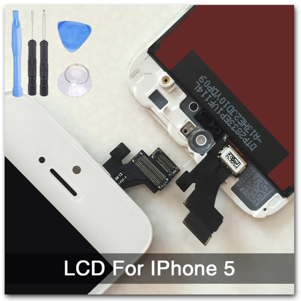 White 100% Guarantee A+++ Display for Iphone 5 LCD Touch Screen Digitizer Assembly + Tools +With Original Digitizer Glass(China (Mainland))