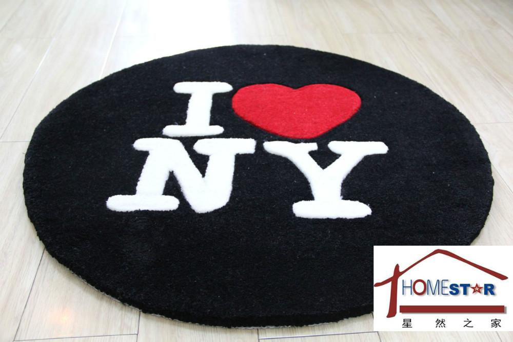 70 x 70 cm cf01 classique rond noir et blanc i love new - Grand tapis new york ...
