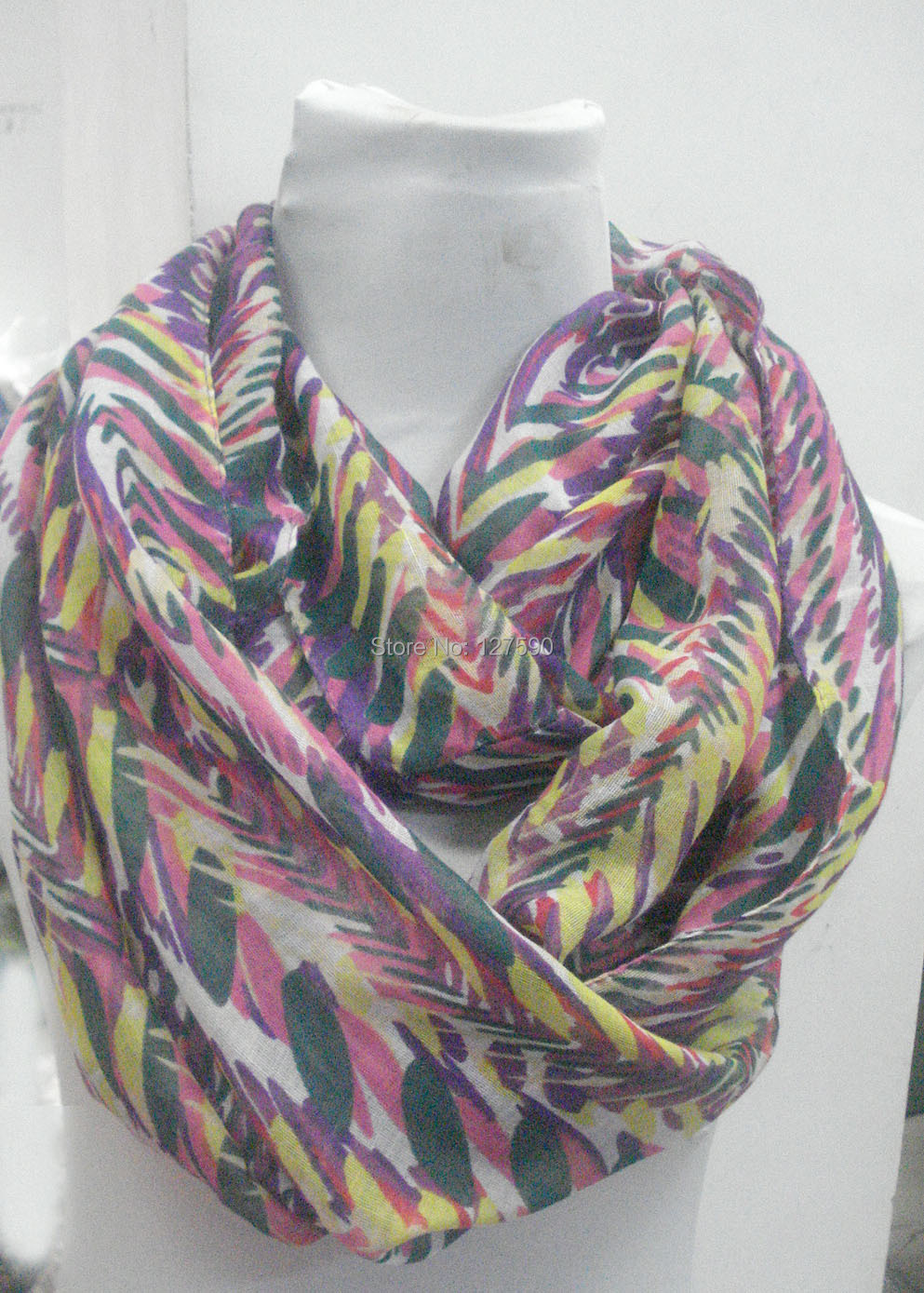 2015 new leaves print infinity scarf leaves loop
