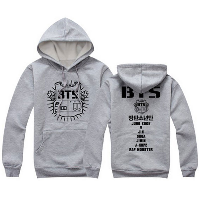 2016 spring hoodies and sweatshirts BTS letter print plus size couple clothes grey red black hooded sport sweatshirt svitshot(China (Mainland))