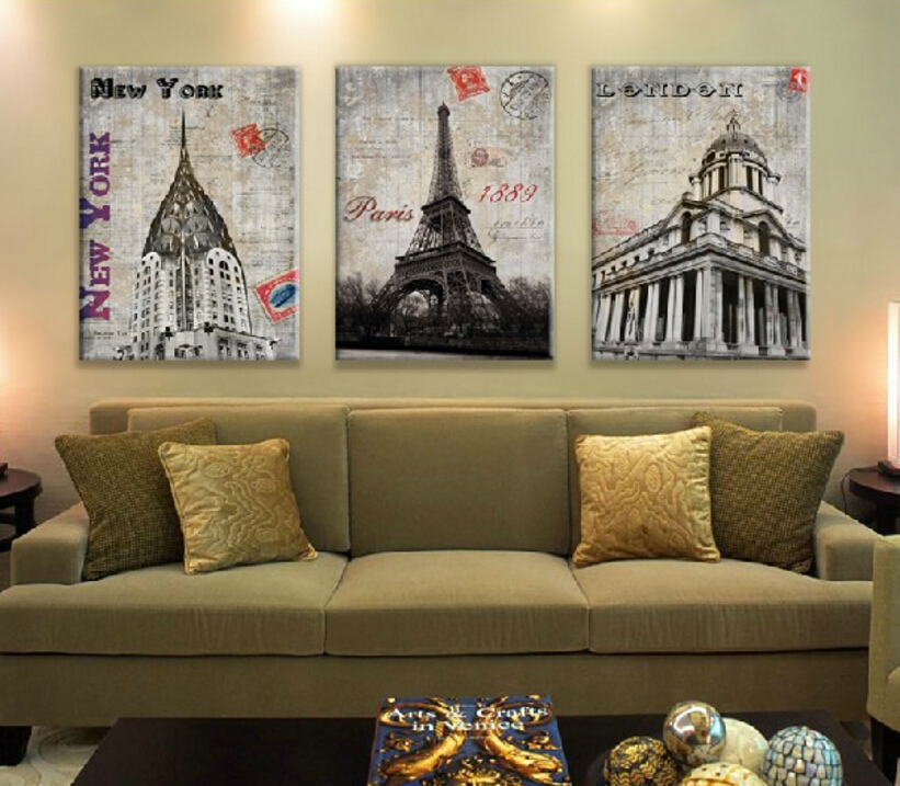 Set of 3 pieces home decor wall canvas painting london for Home decor new york