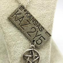 Hot Sale Movie Jewelry Supernatural Dean License Plate Pendant Necklace New Fashion Vintage Necklace For Everyone Wholesale