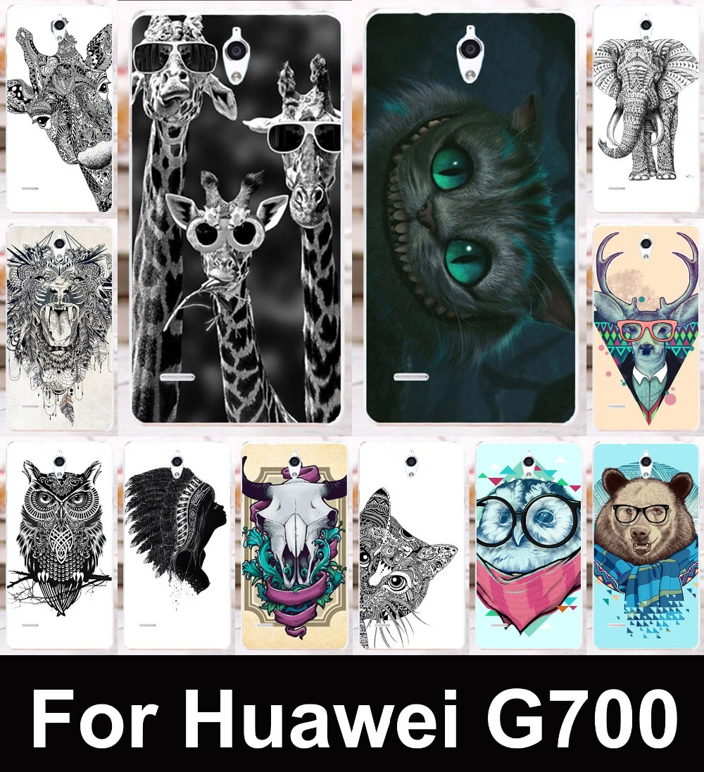 For Huawei Ascend G700 Clear sides Black&white,colorful animal patterns mobile phone protective case hard Back cover Skin Shell(China (Mainland))