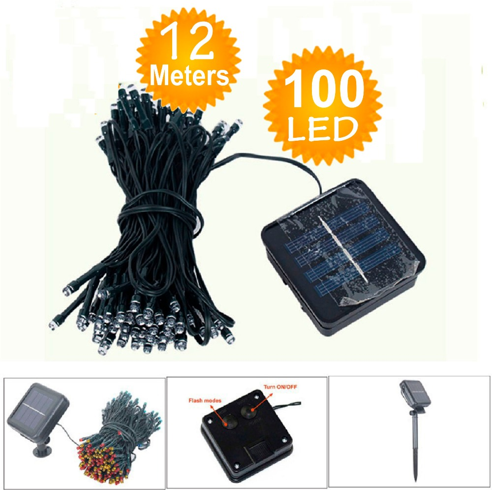 White multicolor Outdoor Yellow Solar LED String Lights Fairy Christmas Party Solar Garden Waterproof Lamps(China (Mainland))