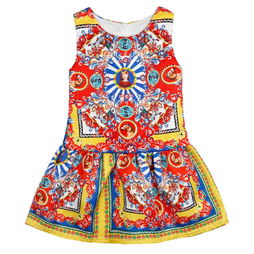 Cotton Catholic Church Print Dressess Summer Toddler Kids