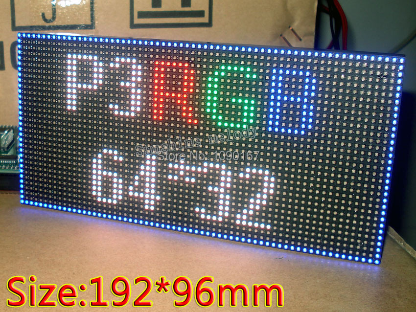 P3 Indoor SMD RGB LED displays module,192mm x 96mm, 64*32 pixle,P3 rgb led panel, Video,images,picture,really HD,Hub75,16pin(China (Mainland))