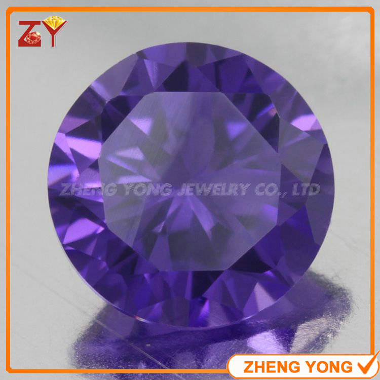 Amazing 12mm Round Brilliant Cut Wuzhou Gemstone Purple Synthetic Cubic Zirconia Loose Stone<br><br>Aliexpress