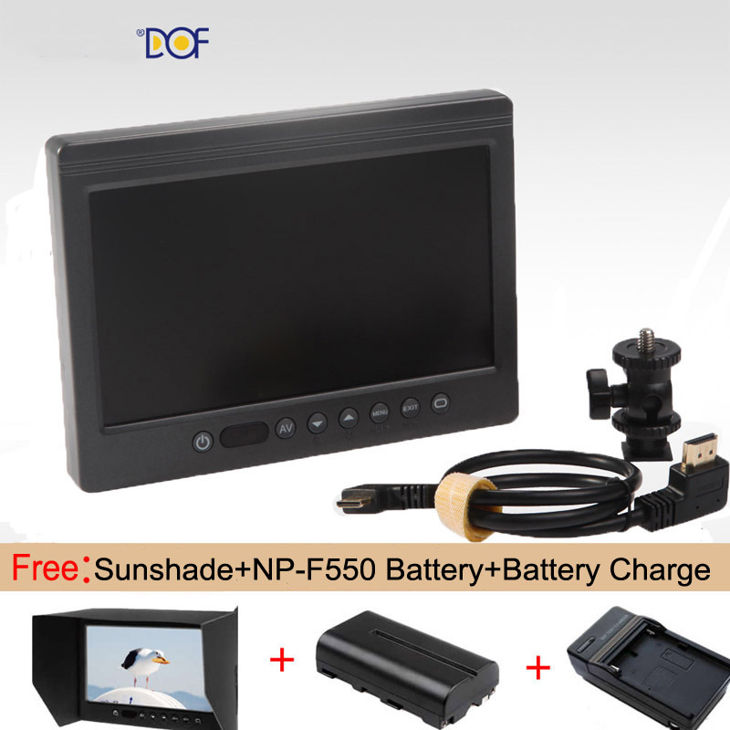 "DOF 7"" HDMI LCD On Camera Monitor with Sun Shade for Canon Nikon Sony <font><b>Panasonic</b></font> <font><b>DSLR</b></font> Cameras +NP-F550 Battery+charge"