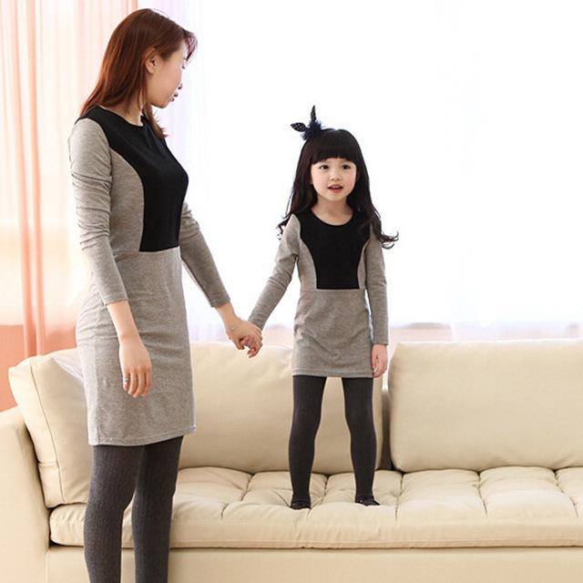 Семья взгляд! мать и дочь соответствующие платья хлопок лоскутная платье о-образным ...