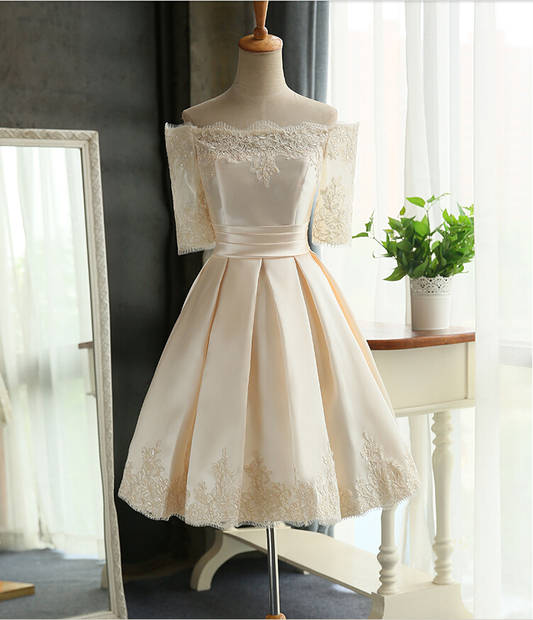Lace Satin Short Evening Dress with Sleeves Off Shoulder Teens Prom Dress in Red Blush Pink Champagne(China (Mainland))