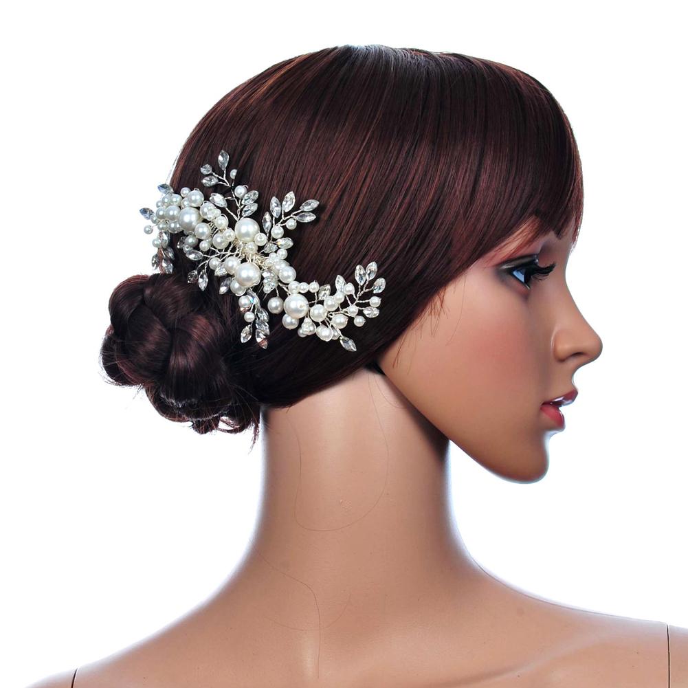 Top Sell Wedding Hair Jewelry Flowers Rhinestone Tiara Pearl Fabric Bridal Crown Floral Hairdress SL