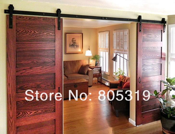 Rustic black double sliding barn door sliding track for 10 foot sliding door