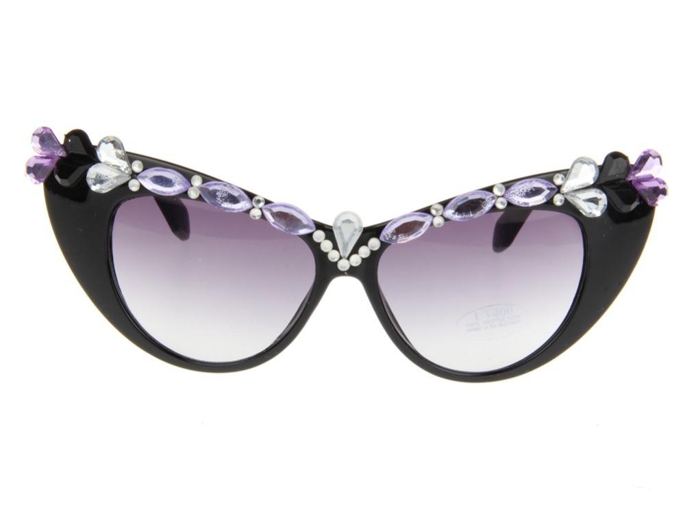 Women s Eyeglass Frames With Crystals : Cat Eye Black Plastic Frame Sunglasses Rhinestone Crystal ...