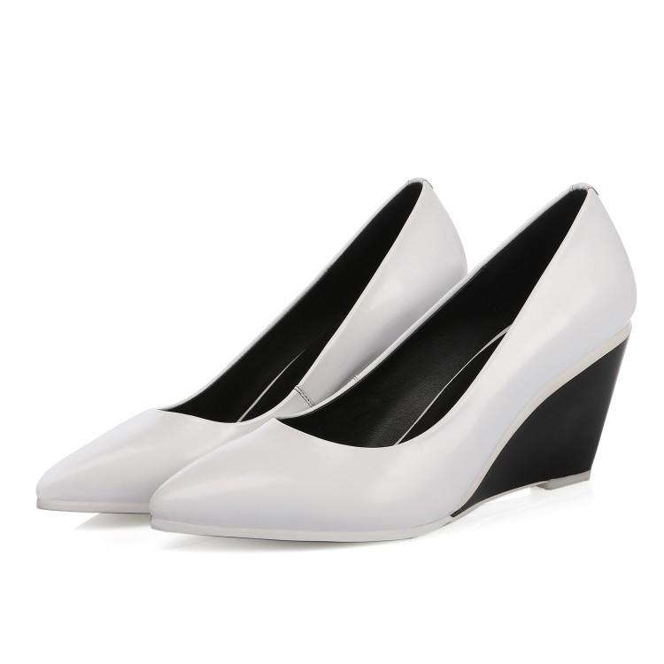White / Black 2016 Women Fashion Solid Color Pointed Toe Wedges Pumps Party Patent Leather Lady Sexy Wedges shoes for women<br><br>Aliexpress