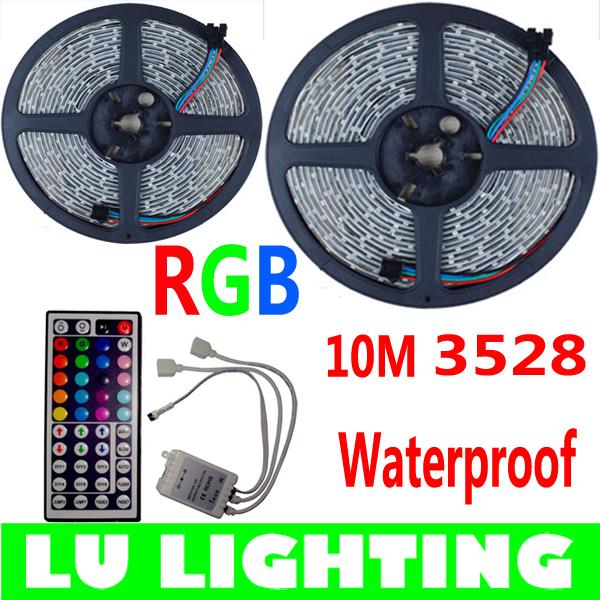 Гаджет  10M 3528 RGB LED Strip Waterproof IP65 DC12V 60LEDs/M SMD Strips Lighting with 44 Keys IR Remote Controller None Свет и освещение