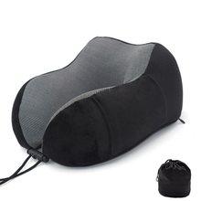 Novo u em forma de espuma memória pescoço almofadas macio lento rebote espaço viagem travesseiro sólido pescoço cervical saúde cama transporte da gota(China)