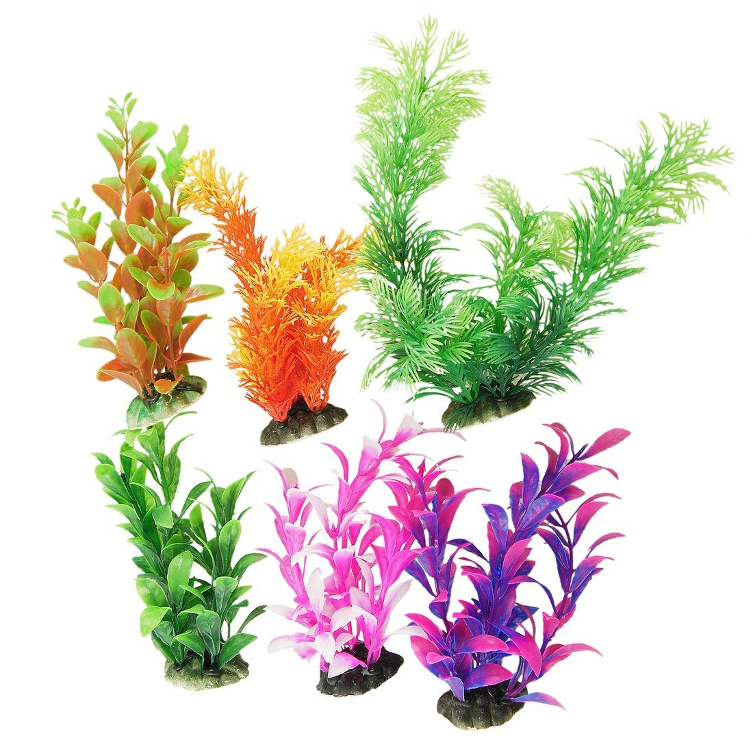 Aquarium fish tank plants - New 6 Pcs Assorted Colorful Fish Tank Aquarium Plants Aquarium Decoration W Ceramic Base China
