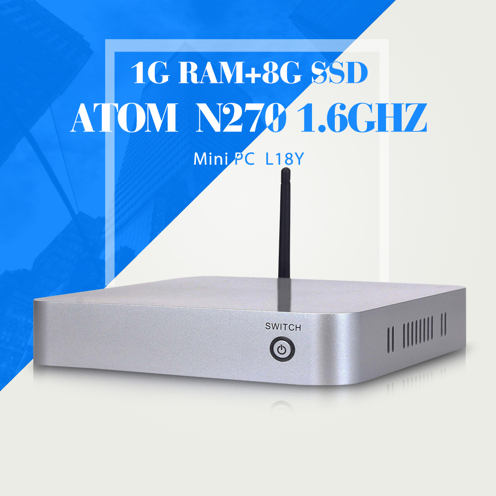 Low power low heat INTEL ATOM N270 1g ram 8g ssd thin client cheap mini pc smallest computer thin client office networking