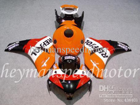 INJECTION MOLDED REPSOL orange Kit Fit HONDA CBR1000RR 08 09 10 11 CBR 1000RR 2008 2009 2010 2011 ABS Plastic Fairing - yuxia song's store