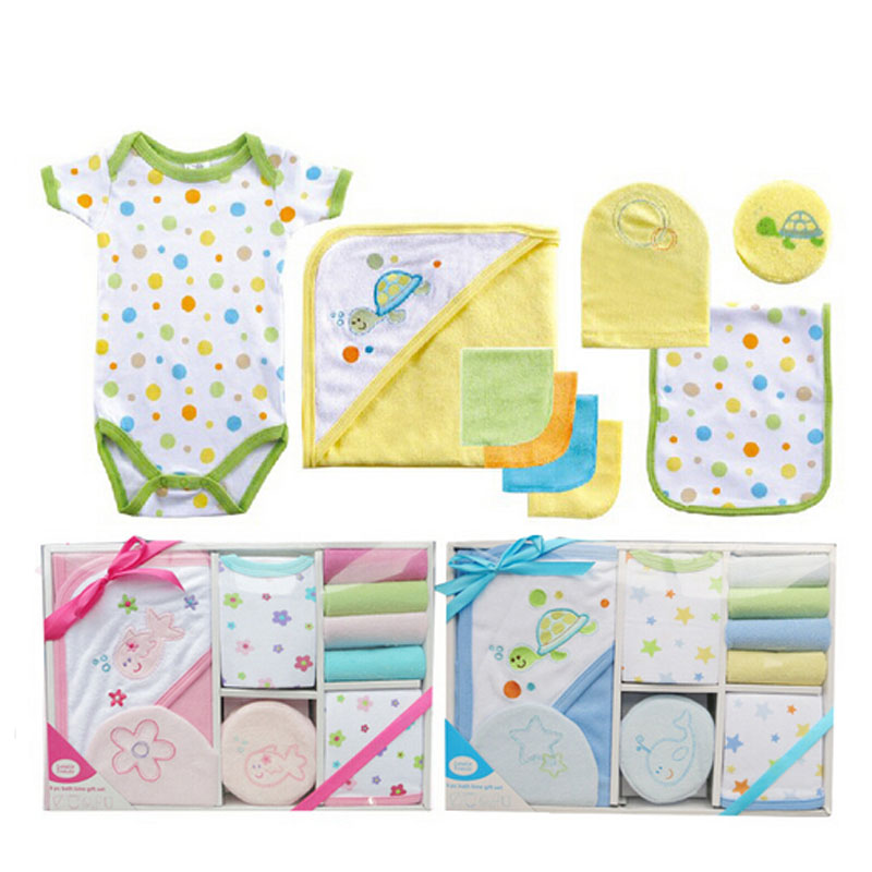 Luvable Friends New 2015 9-Pieces Baby Bath Set Towel Baby Care Set Baby Both Towel Products Newborn Baby Romper(China (Mainland))
