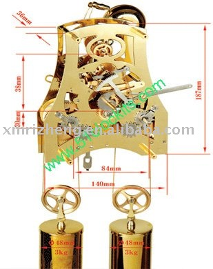 Mechanical clock movement/7days 2 weights cable driven movement--RZ-SVC(China (Mainland))