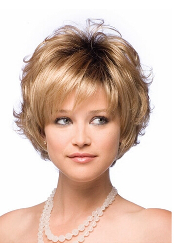 Гаджет  2015 New Bob style Synthetic wigs for women Short Wavy Blonde wig with bangs high temperature wire Free shipping None Волосы и аксессуары