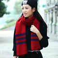 Autumn Winter Striped Stripes Brief Fashion Patchwork Woolen Scarf Warm Thick Ladies Muffler Female Shawl Wraps