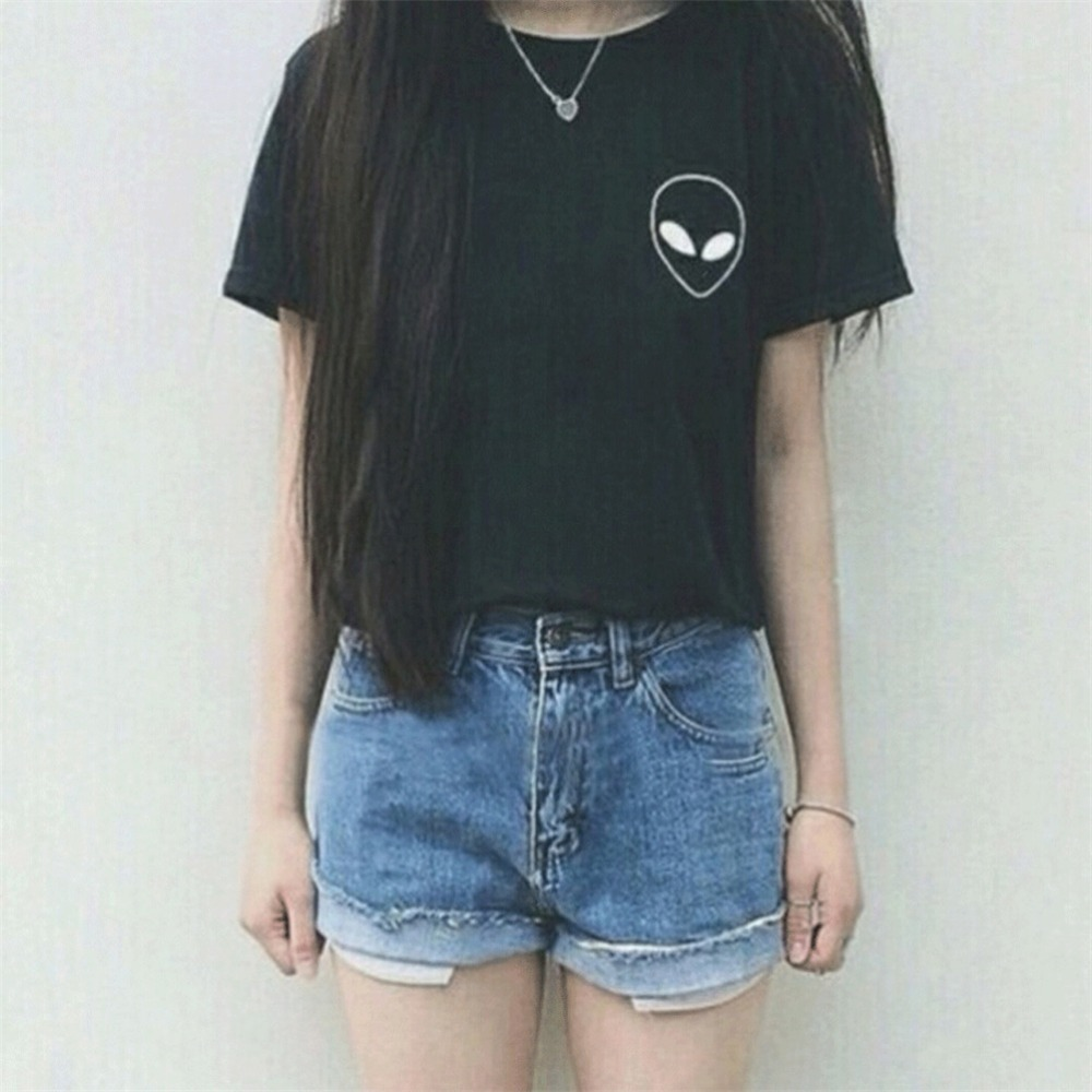 New Women Tshirt Alien Pocket Print Cotton Funny Casual Hipster Shirt Lady White Black Top Tees Hipster