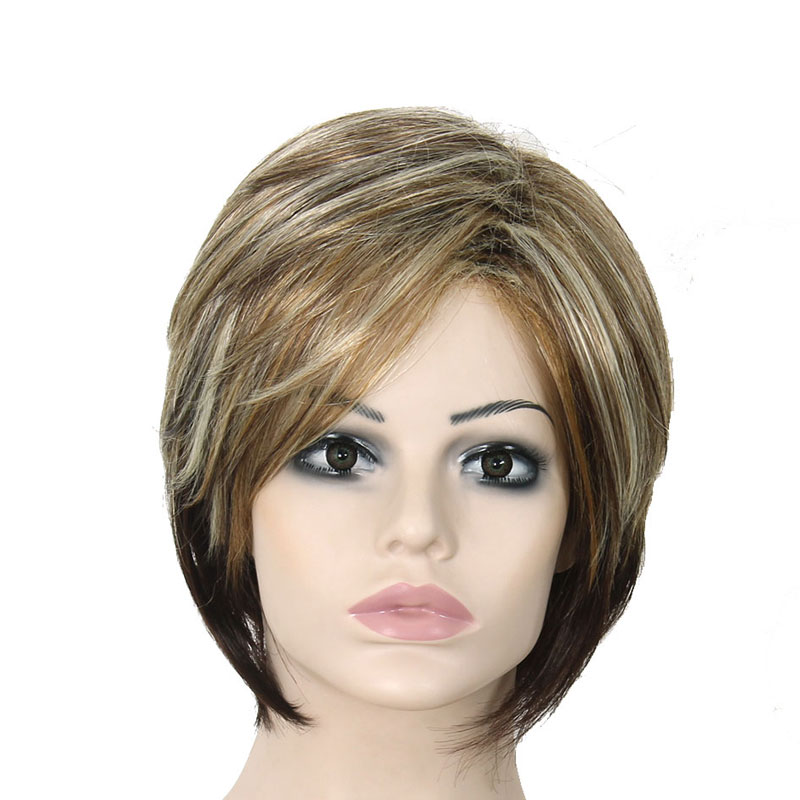 8 Females Short Straight Blonde Hair Fashion Heat Resistant Synthesis Wig Cheap Quality African American For Black Womens Wigs<br><br>Aliexpress