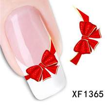 [NR-XF1365]  Fancy Red Butterfly Tie Sweets Casual Nail Decals Stickers Water Mark Beauty Decorations Foils French Tips Tool