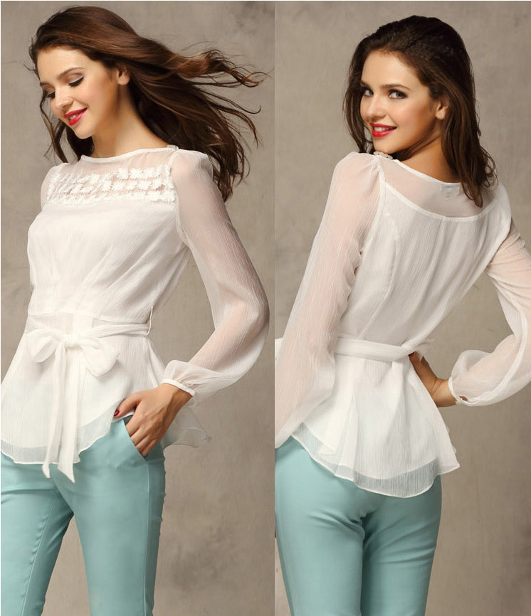 Aliexpress.com : Buy Chiffon blouse women new 2014 Lace White long ...