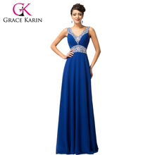 Bridesmaid Dresses Grace Karin Pretty 2016 Floor Length Long Sequins Brides Maid Dresses robe de mariee Royal Blue W4410(China (Mainland))