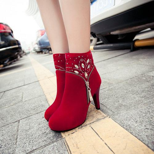 Comfortable waterproof zipper autumn winter shoes small round head luxurious rhinestone bootsZ1CHSD-c36<br><br>Aliexpress