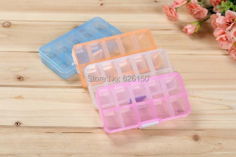 10 compartment free installation demolition Transparent PP plastic stud earring jewelry cosmetic button Screw storage box - Minihouse store