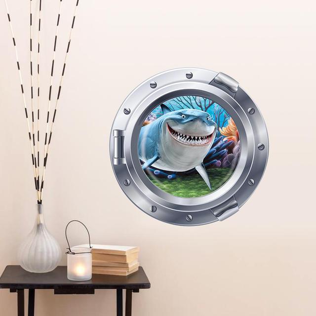 3d мультфильм с видом на океан подводный акула окна стикер стены отличительные знаки для детей номеров море портал корки дети стены искусства