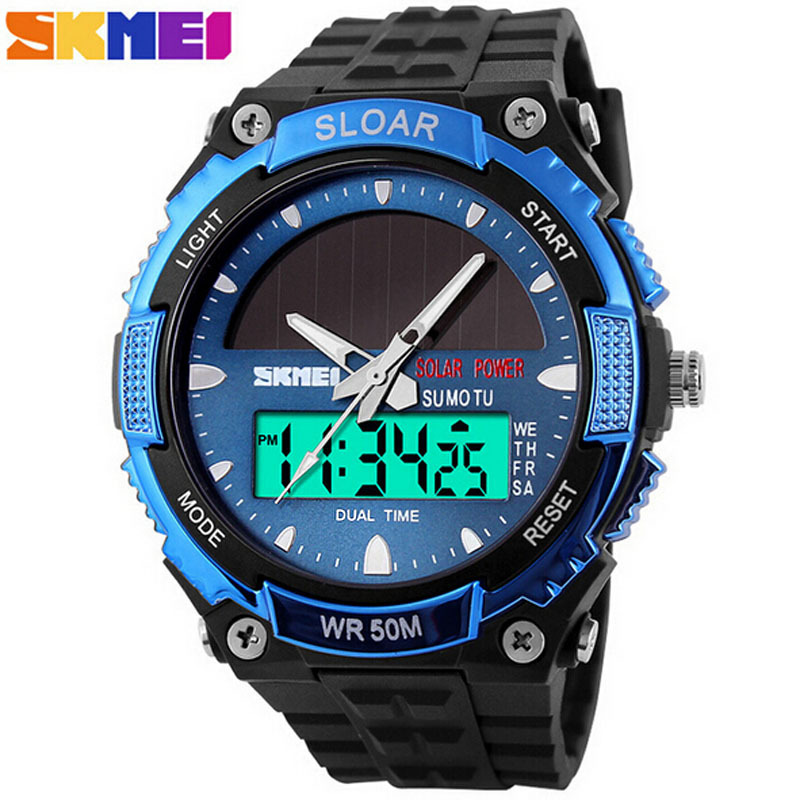Herren uhren skmei solar power watch men outdoor sports quartz watches men military army for Solar power watches