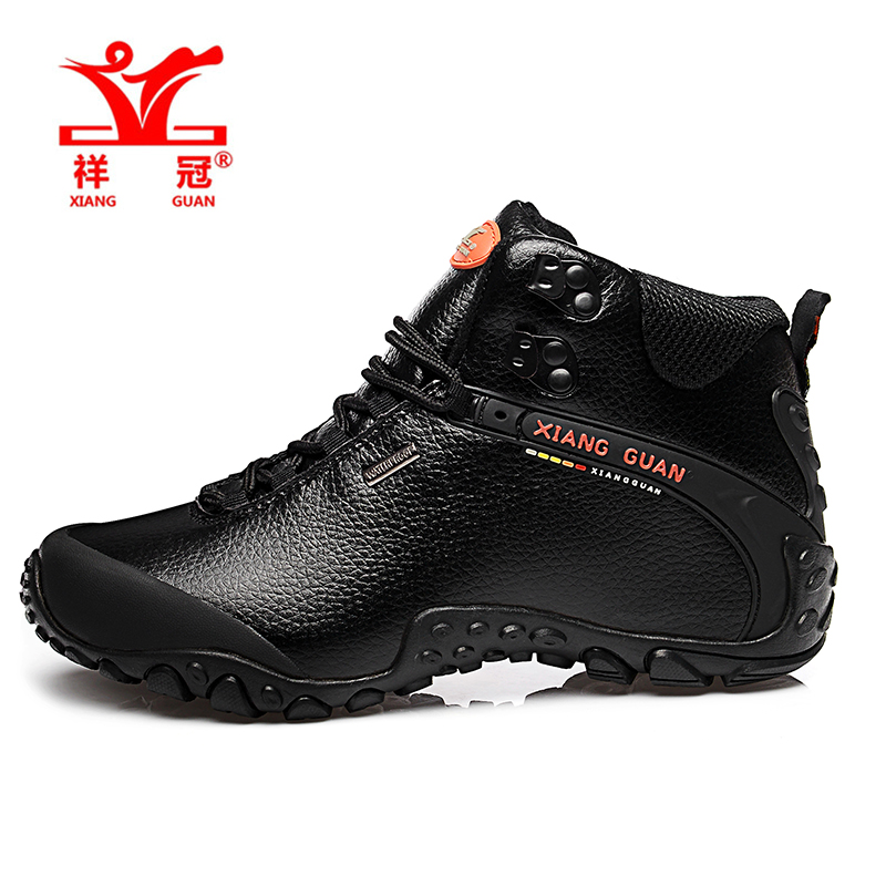 XIANG GUAN Mens High Top Leather Outdoor Trekking <font><b>Hiking</b></font> <font><b>Shoes</b></font> Boots For Men Sports Climbing Mountain <font><b>Shoes</b></font> Man Senderismo