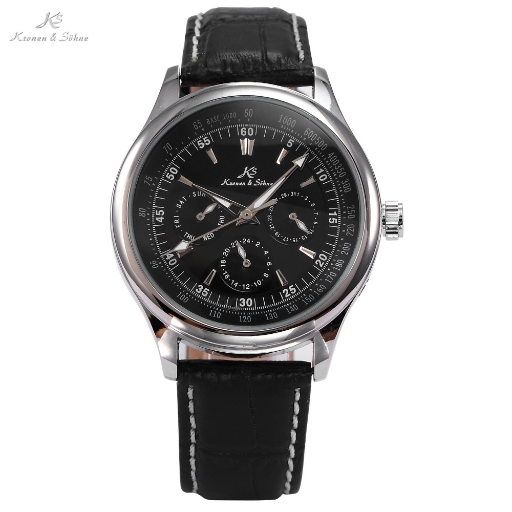 Гаджет  Classic Ks Luxury Genuine Leather Strap Automatic Mechanical Date Day Calendar Wrap Gift Wrist Men
