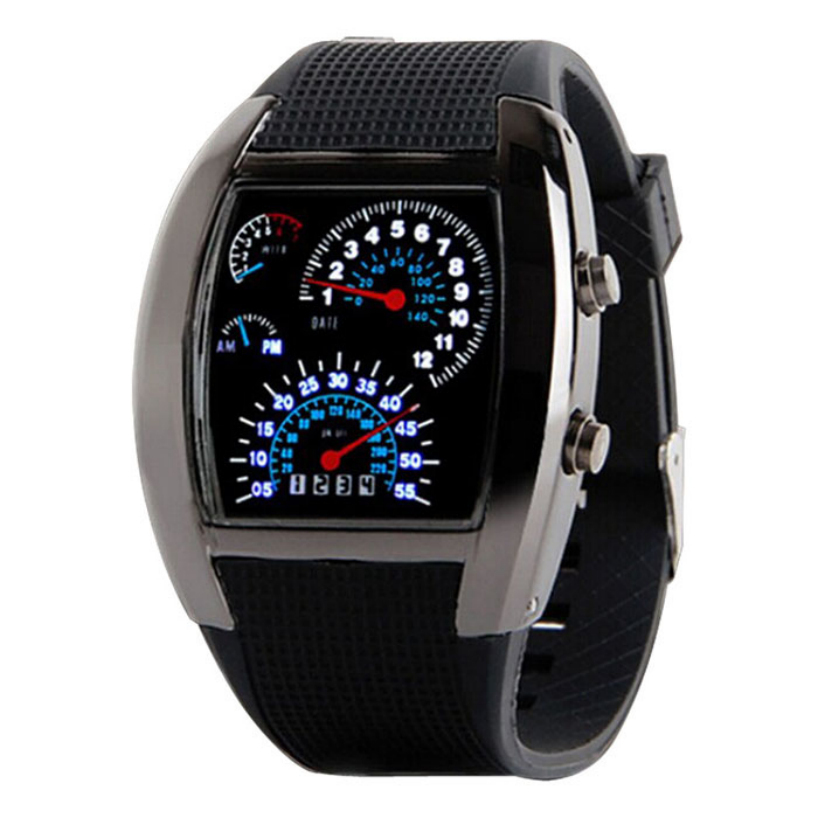 Essential Fashion Aviation Turbo Dial Flash LED Watch Gift Mens Lady Sports Car Meter Stainless steel
