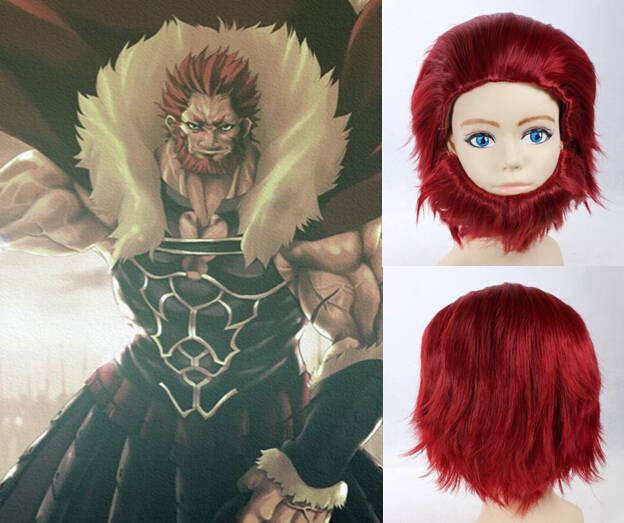 Free Shipping Short Men Red Hair Wigs Cheap Wavy Synthetic Peluca Perucas Cosplay Anime Wig Fate Zero Rider(China (Mainland))