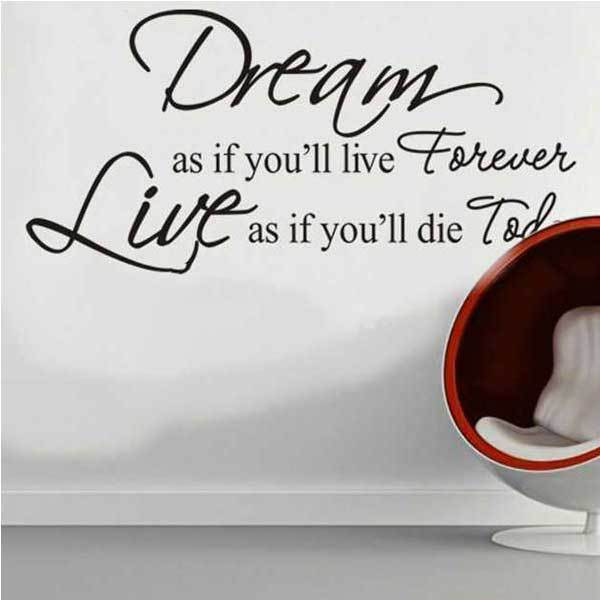 Ekron Dream As If You Will Live Forever PVC Wall Sticker Wallpaper ZY8133(China (Mainland))